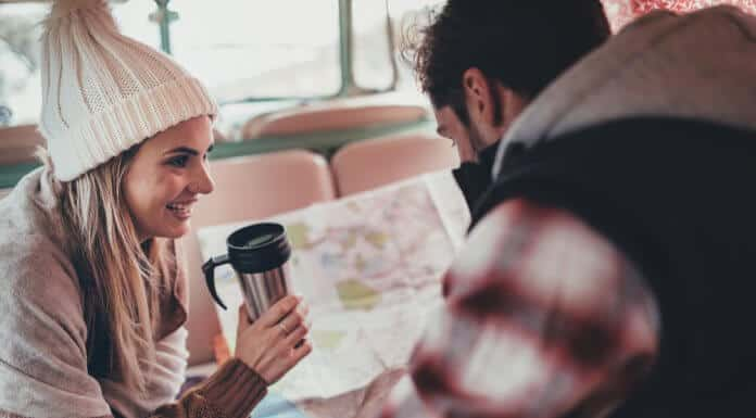 Couple planning their Iceland campervan road trip