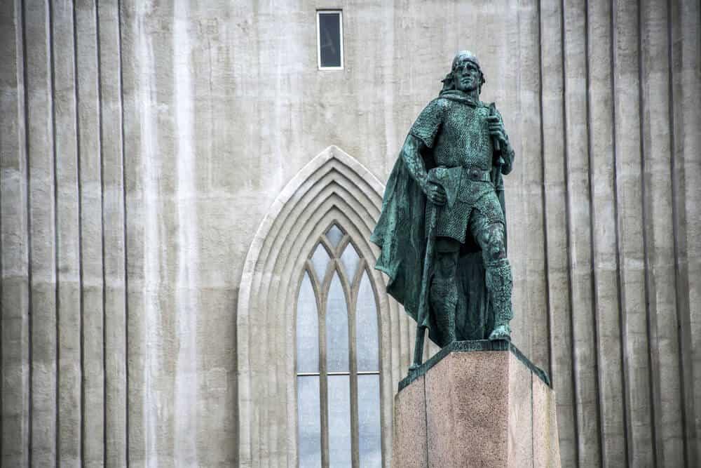The Leif Erikson statue at Hallgrímskirkja Cathedral in Reykjavik