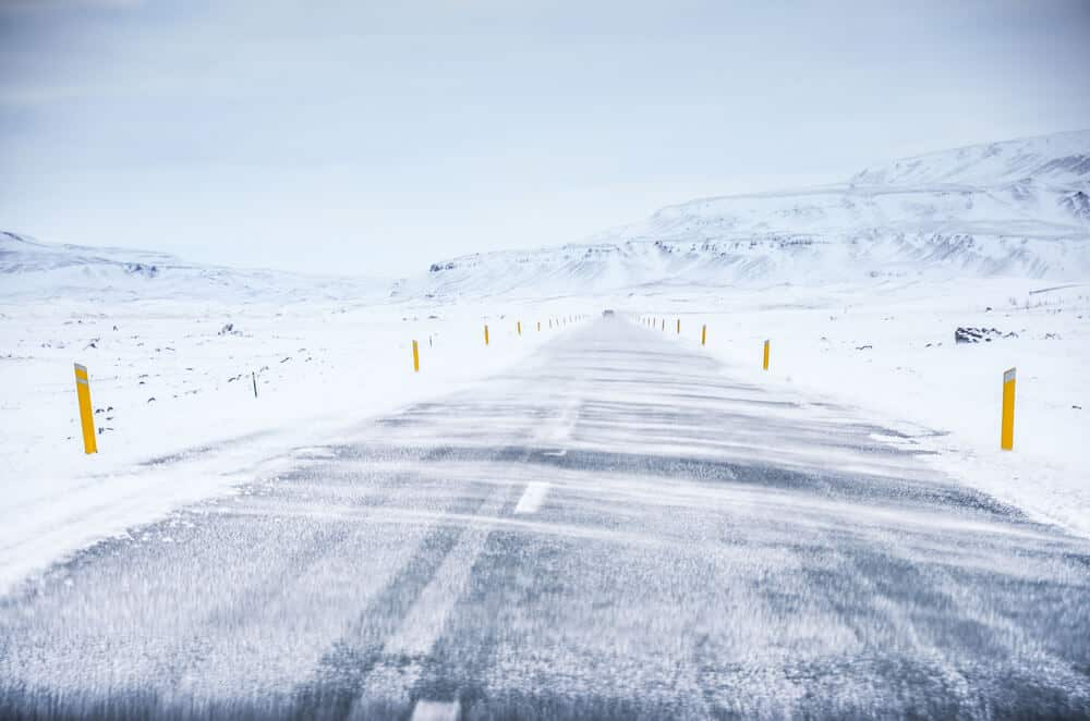 How windy is Iceland? Look at the wind on the road during this winter storm.