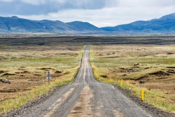 Road goin to Dettifoss waterfall in Iceland