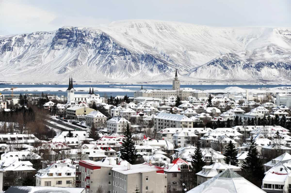 Reykjavik gets lots of snow and has low temperatures in February