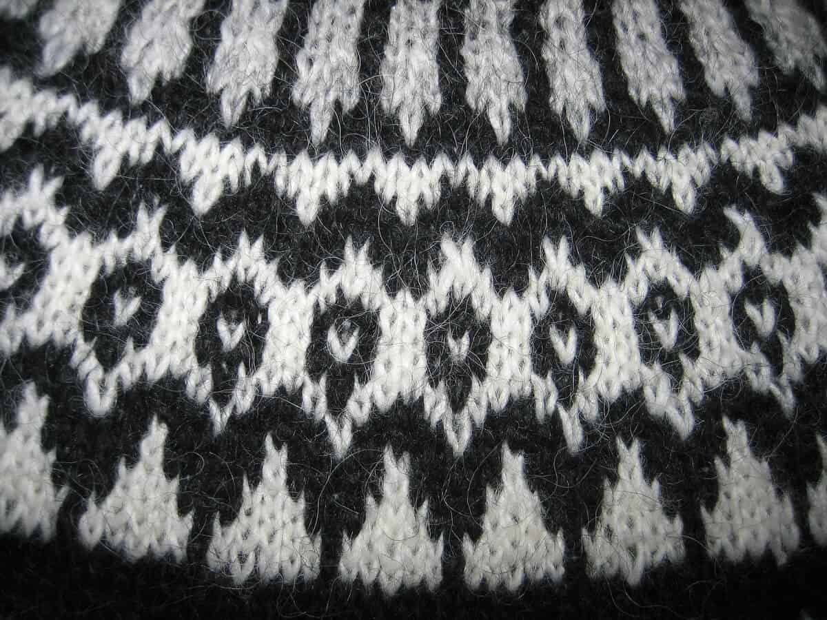 Up close detail of authentic Icelandic lopapeysa traditional wool sweater