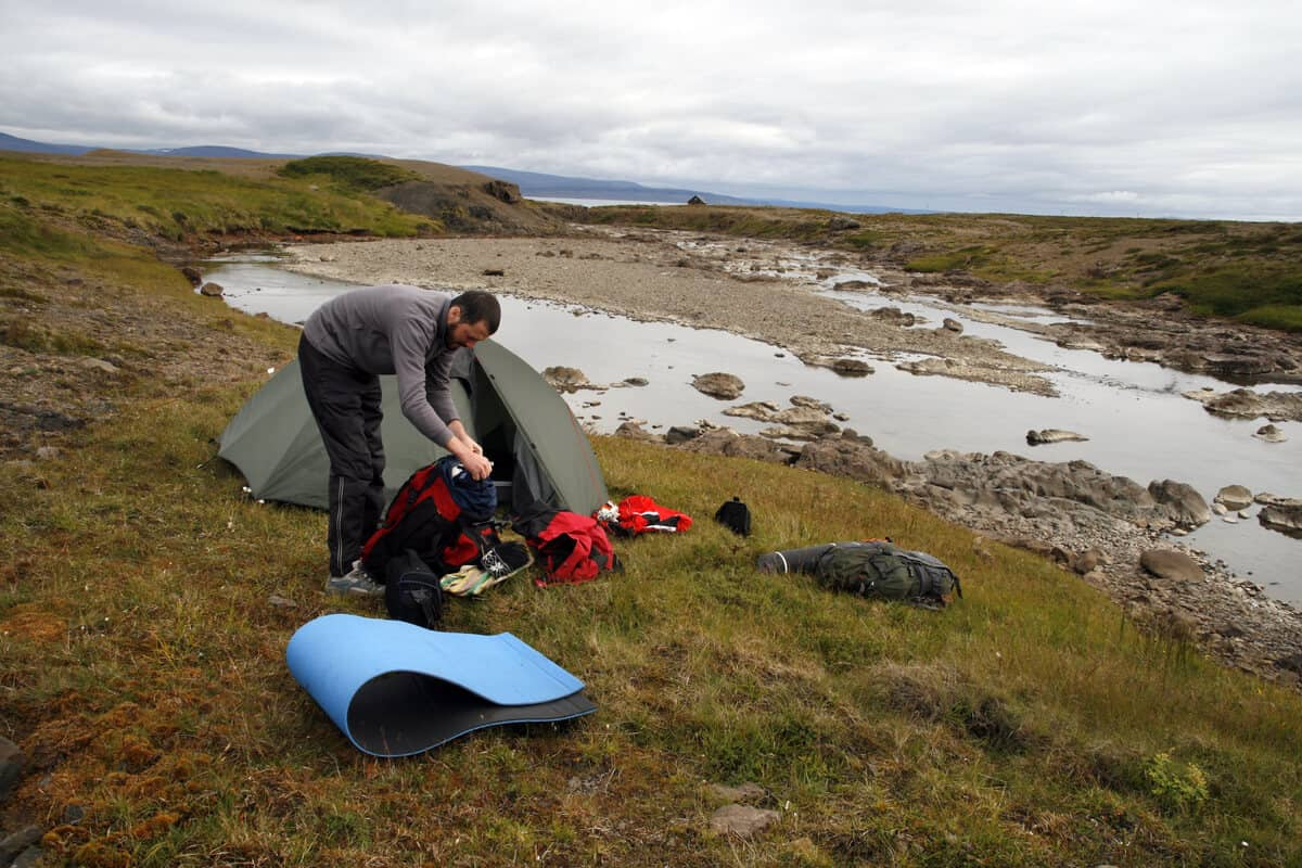 A man legally wild camping in Iceland (we hope!)