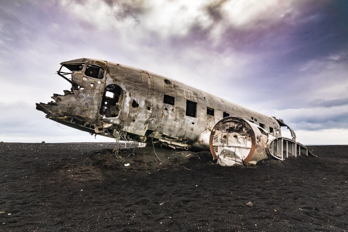 Sólheimasandur plane wreck black sand beach in Iceland