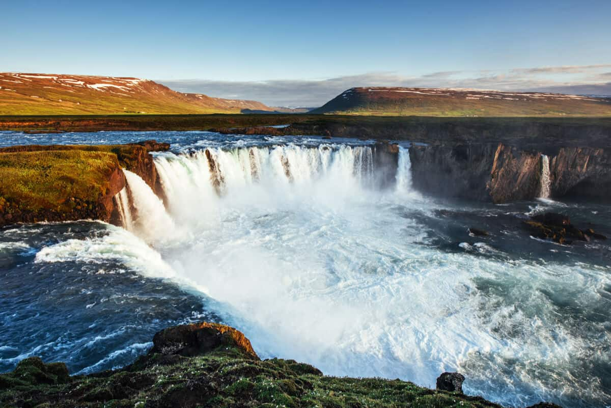 Camping in Iceland in April and May at Godafoss waterfall