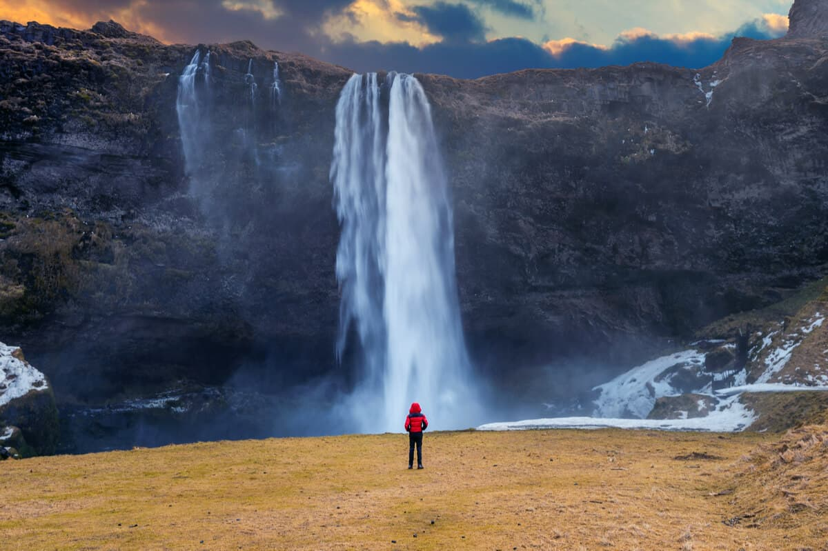 Front view of Iceland's most beautiful waterfall