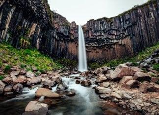Iceland's black waterfall Svartifoss waterfall