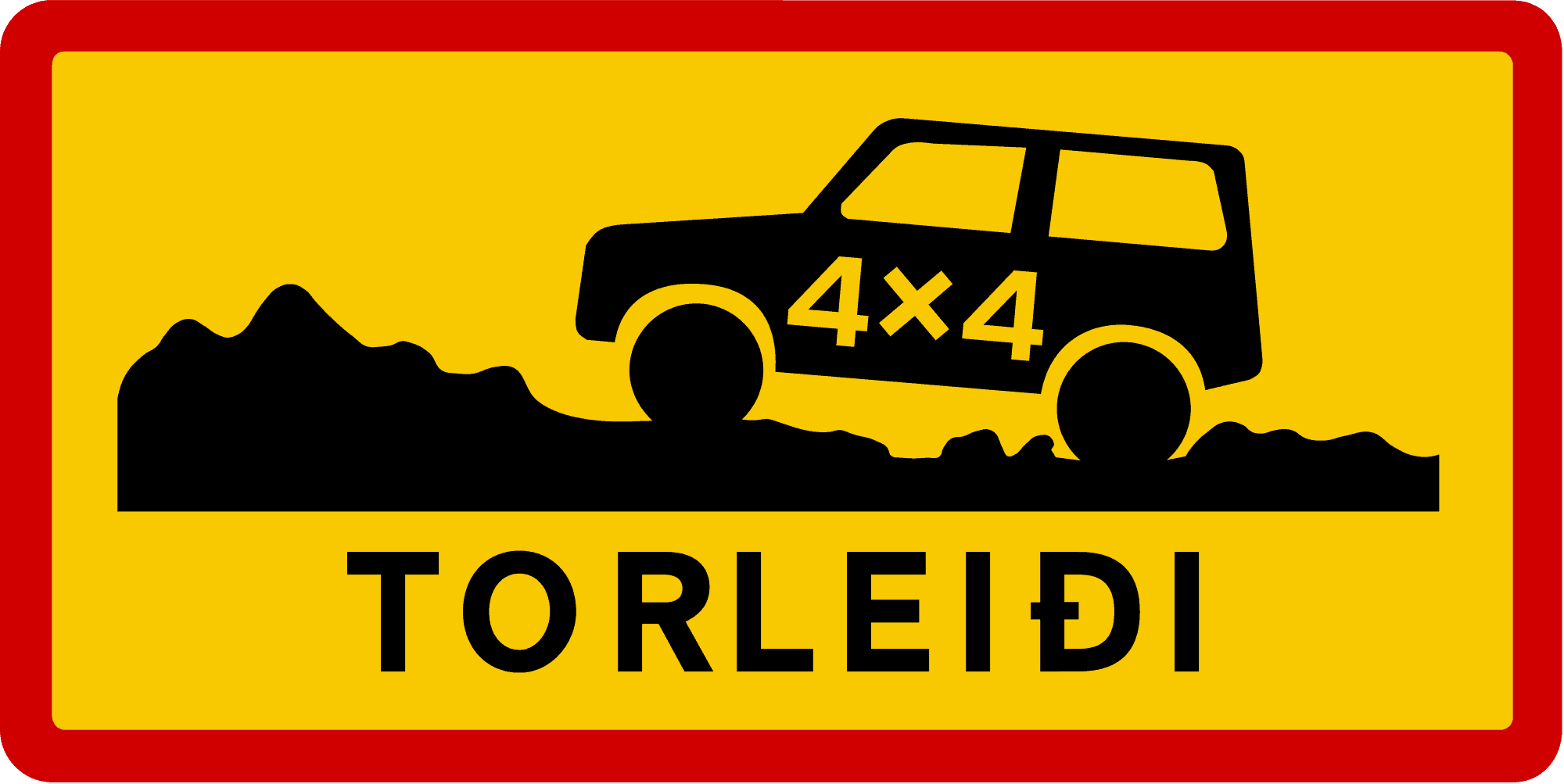Iceland road sign Torleidi on F-roads