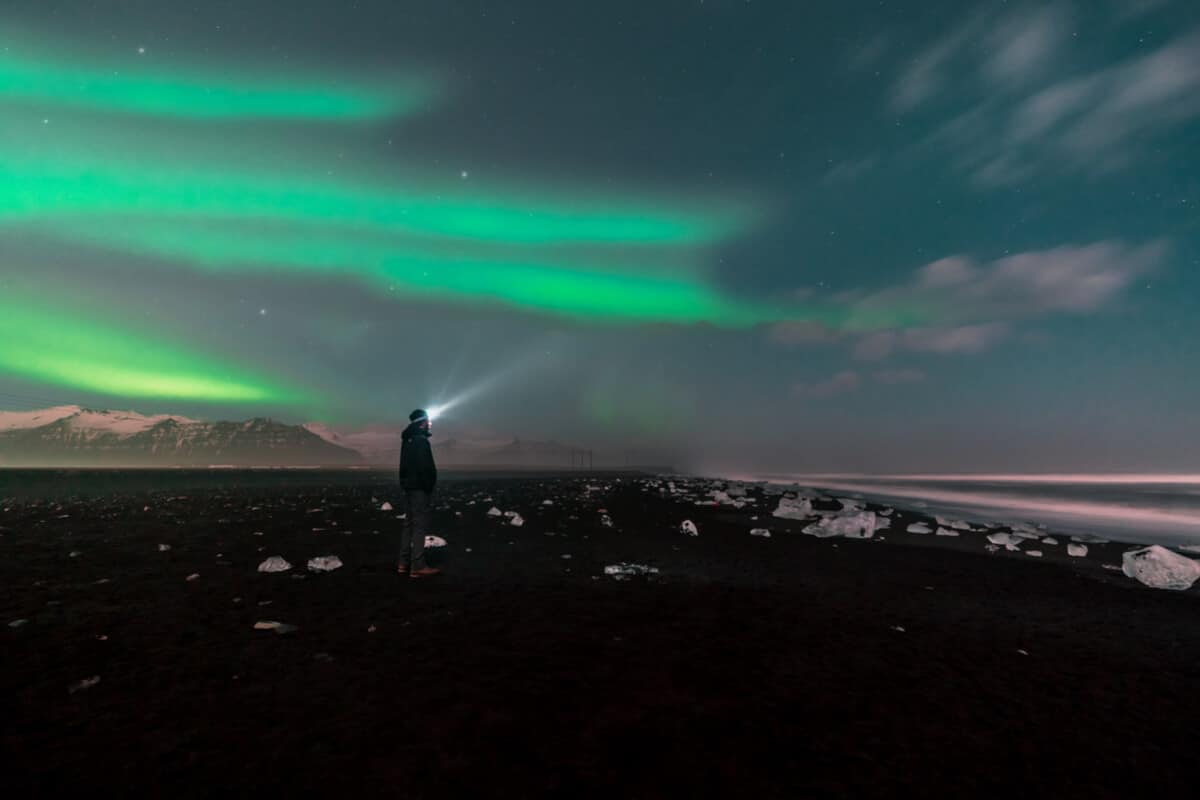 The Diamond Beach in Iceland Northern Lights