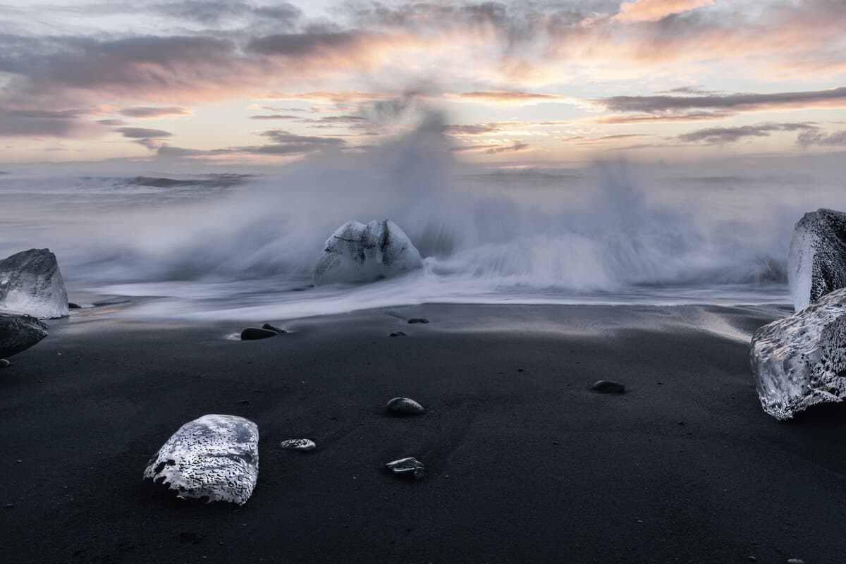 The Diamond Beach in Iceland sneaker waves