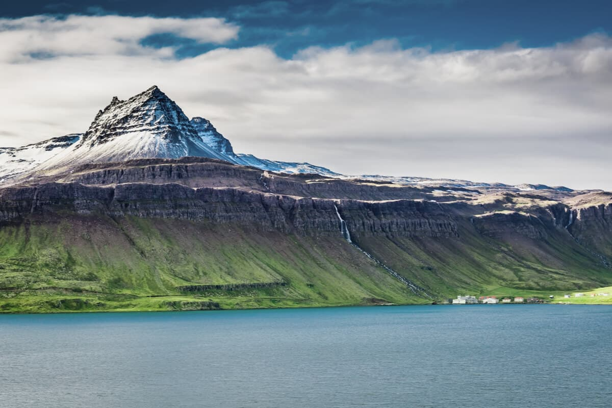 Iceland fjords and volcanic mountains are common Iceland landscapes