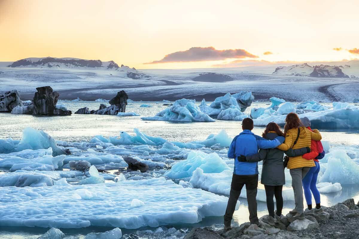 Friends camping near Jokulsarlon glacier lagoon