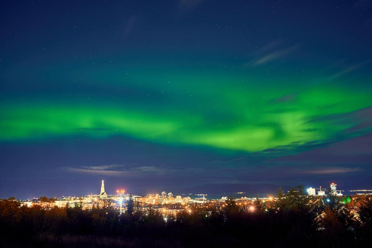 The Northern Lights over Reykjavik during an Icelandic festival