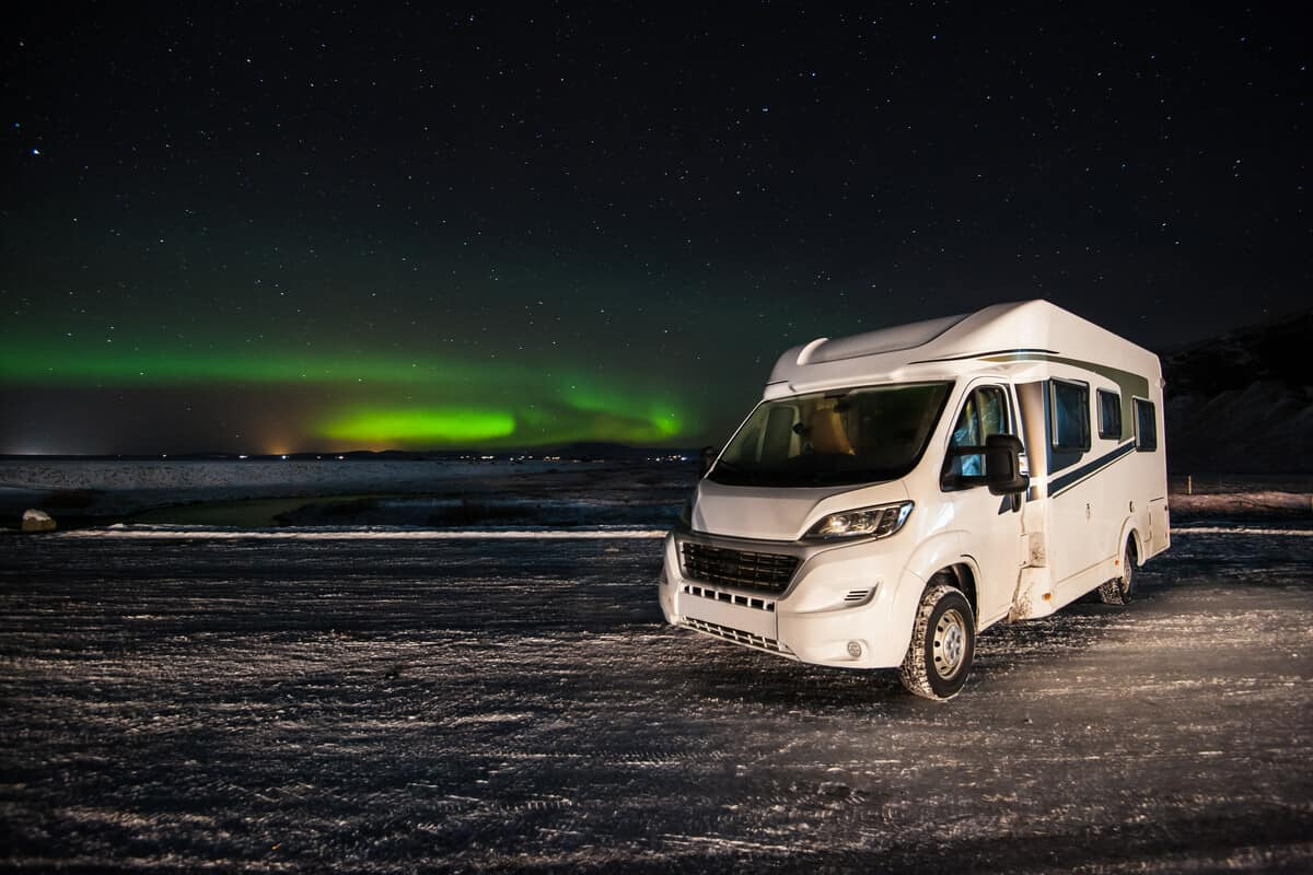 RV dump stations in Iceland Northern Lights