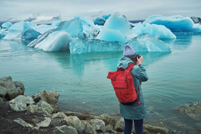 Iceland is known for its glaciers lagoon such as jokursarlon in the picture - Solo Van Camping Trip in Iceland