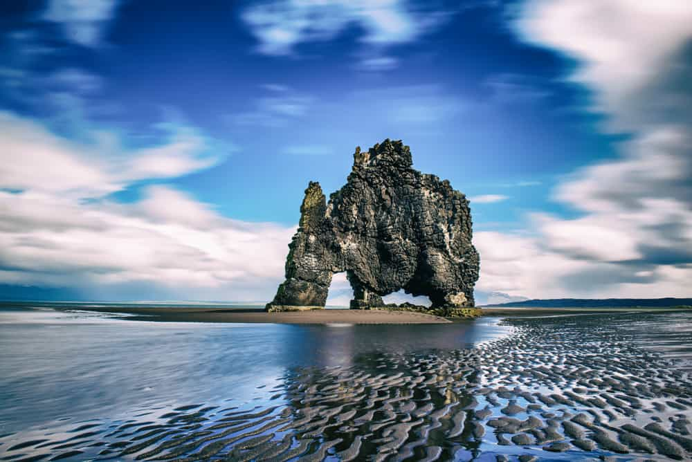 elephant rock in Iceland on a panoramic view