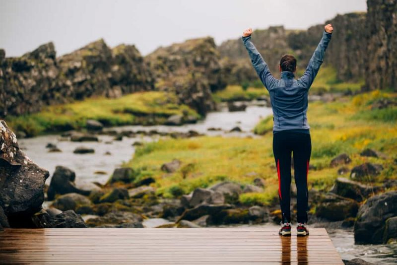 Tourist jogging in Iceland - Solo Van Camping Trip in Iceland